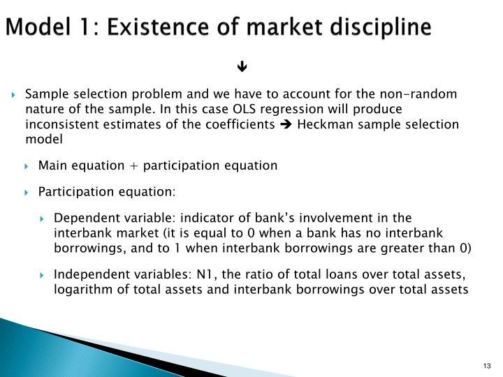 Model 1: Existence of market discipline