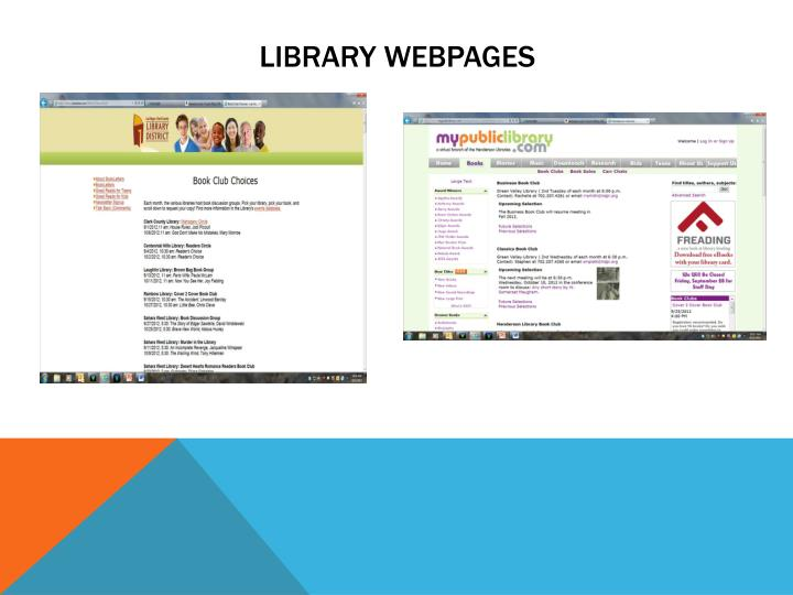 Library webpages