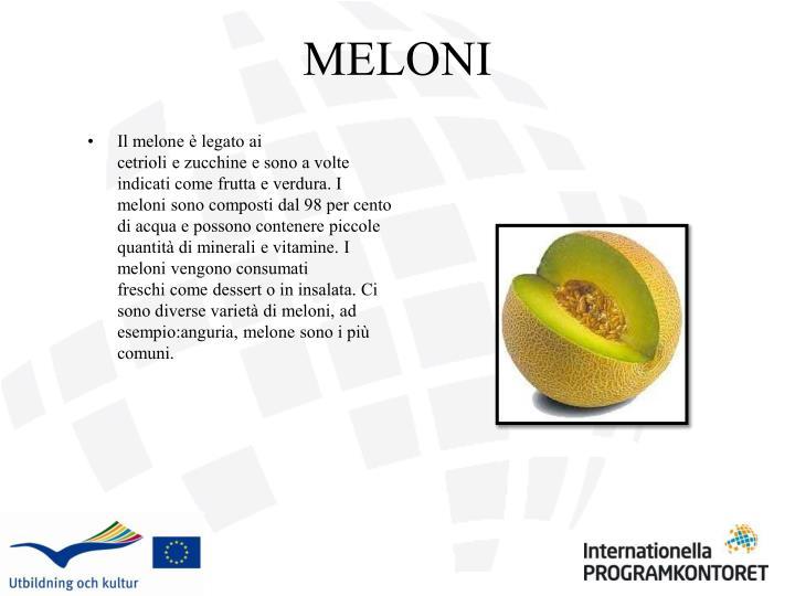 Il melone èlegatoai cetrioliezucchinee sonoa volte indicati comefruttae verdura.I melonisono composti dal98per cento di acquae possono contenerepiccole quantità diminerali e vitamine.I meloni vengono consumati freschicome dessert oin insalata.Ci sono diverse varietà dimeloni,ad esempio:anguria,melonesono i più comuni.