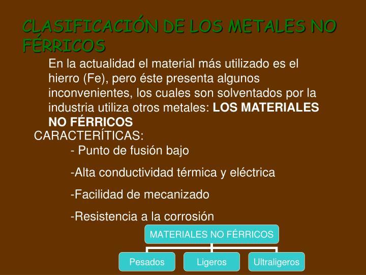 CLASIFICACIÓN DE LOS METALES NO FÉRRICOS