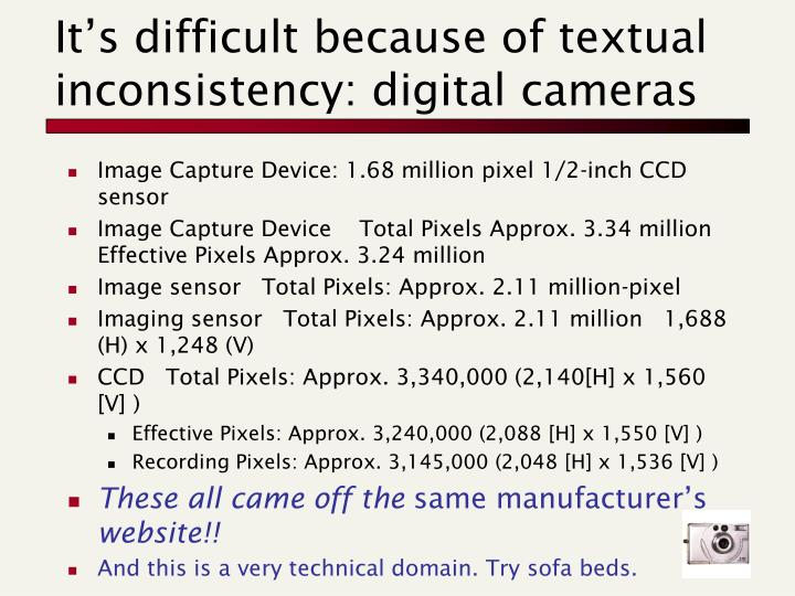 It's difficult because of textual inconsistency: digital cameras