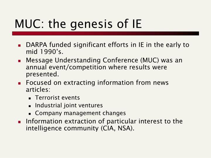 MUC: the genesis of IE