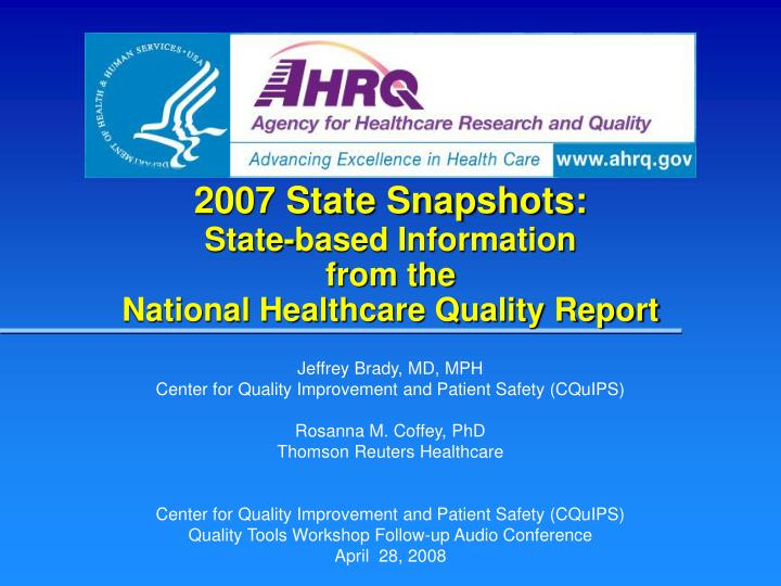 2007 state snapshots state based information from the national healthcare quality report