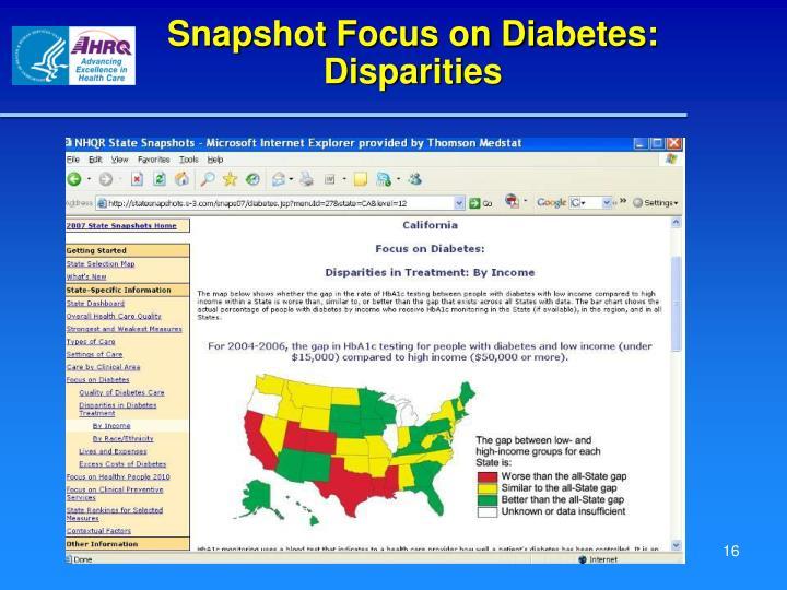 Snapshot Focus on Diabetes: Disparities