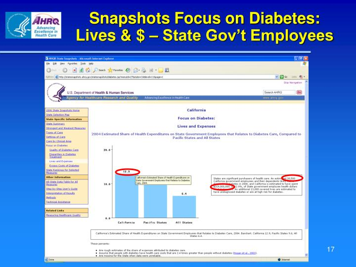 Snapshots Focus on Diabetes: Lives & $ – State Gov't Employees