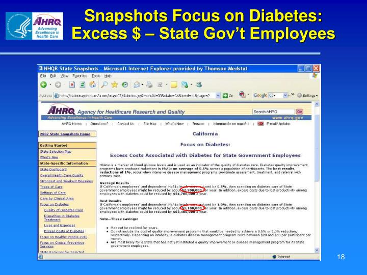 Snapshots Focus on Diabetes:  Excess $ – State Gov't Employees
