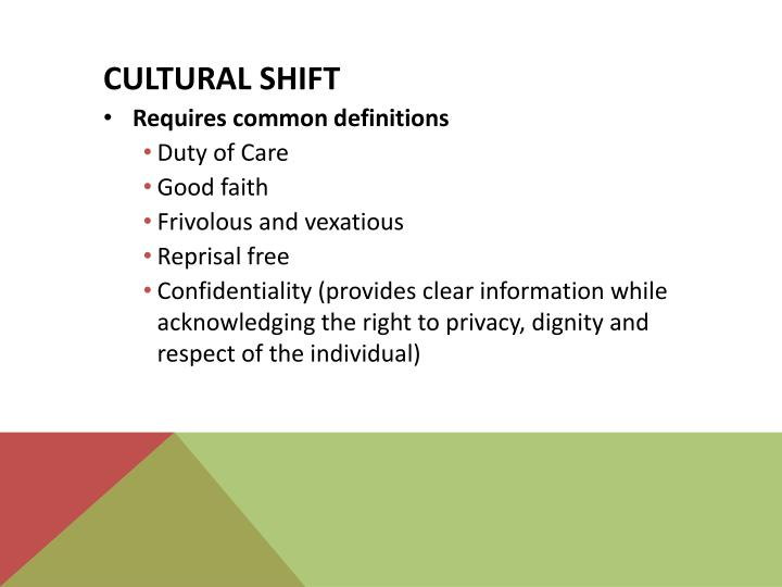 Cultural shift