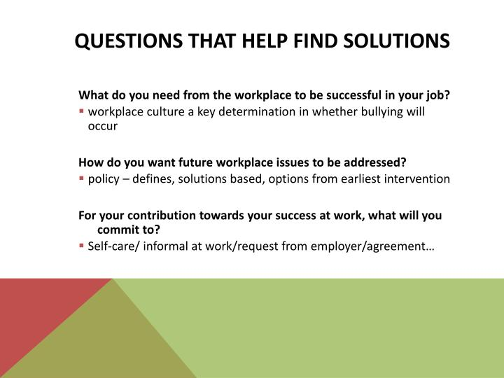 Questions that help find solutions