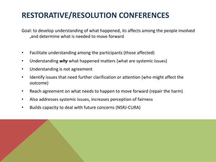Restorative/Resolution Conferences