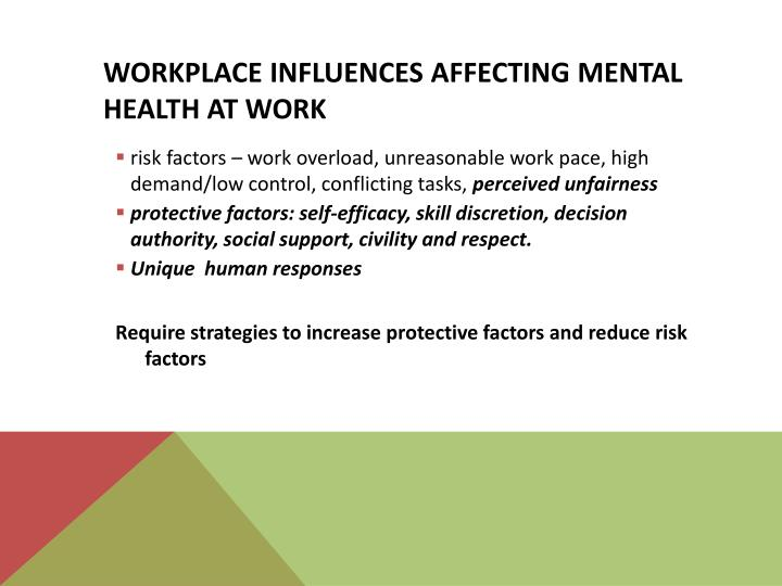Workplace influences affecting mental health at work