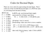 codes for decimal digits