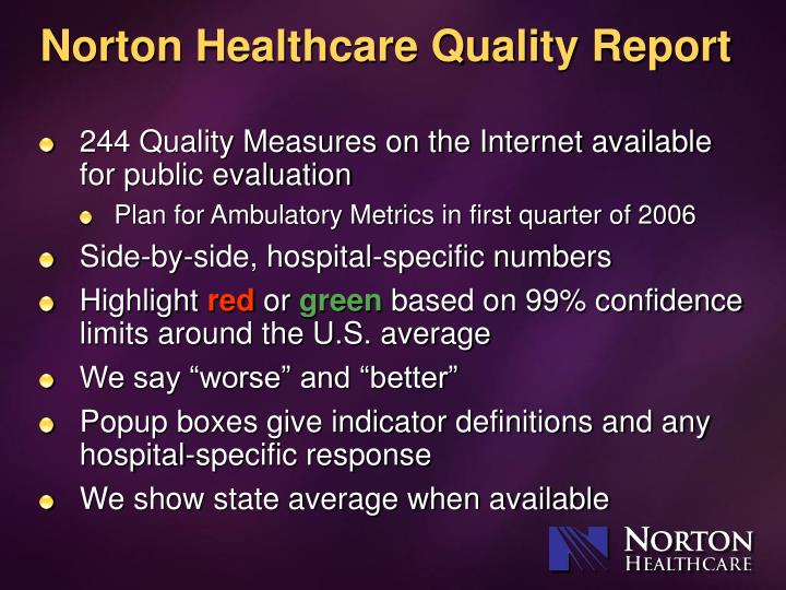 Norton Healthcare Quality Report