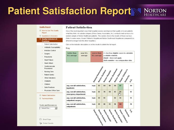 Patient Satisfaction Report
