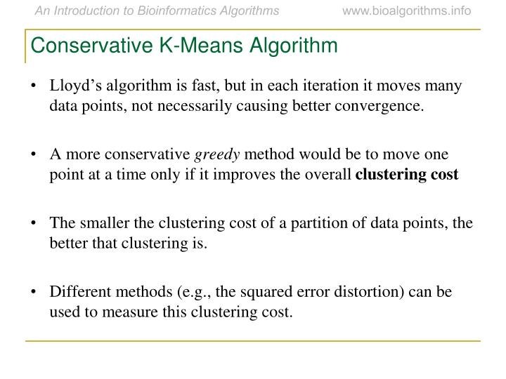 Conservative K-Means Algorithm