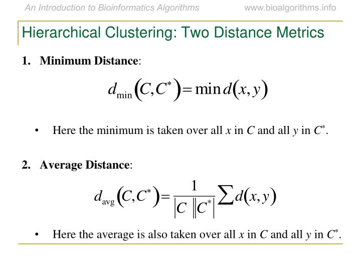 Hierarchical Clustering: Two Distance Metrics