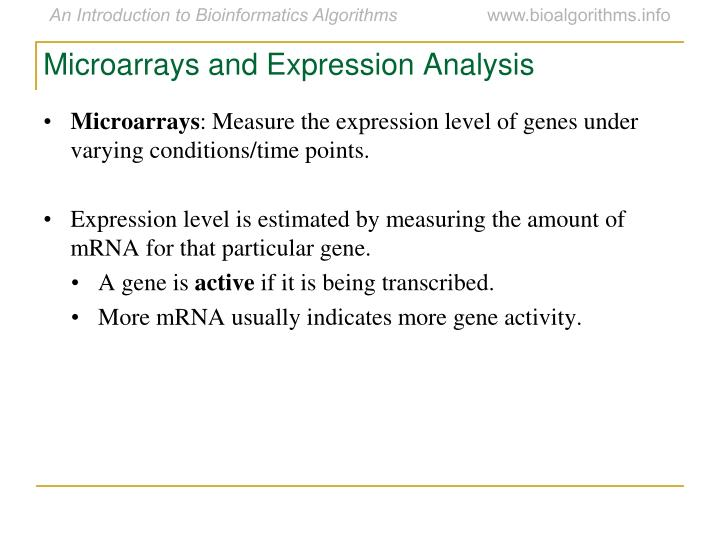 Microarrays and Expression Analysis
