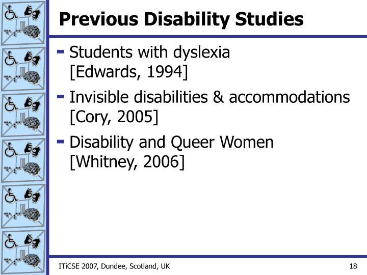 Previous Disability Studies