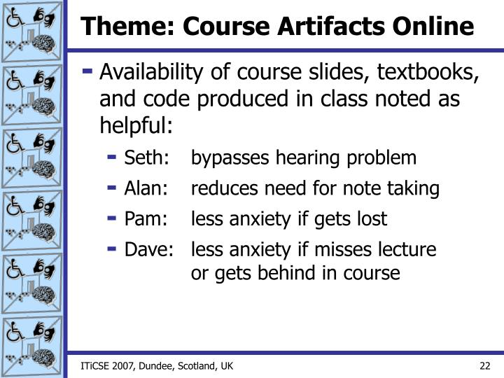 Theme: Course Artifacts Online