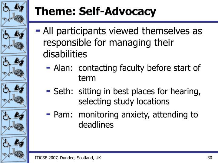 Theme: Self-Advocacy