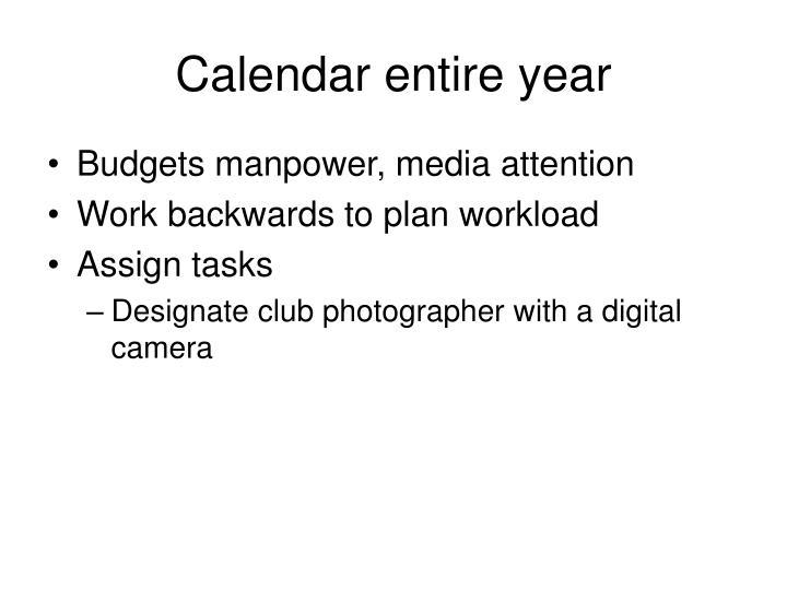 Calendar entire year