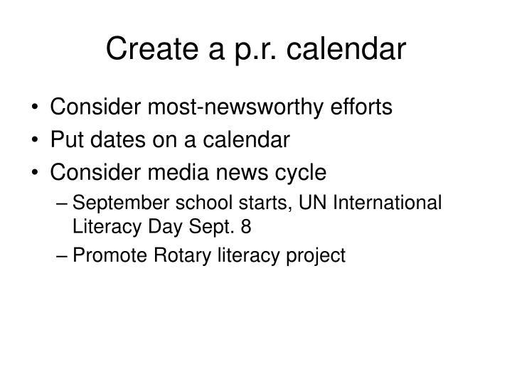 Create a p.r. calendar
