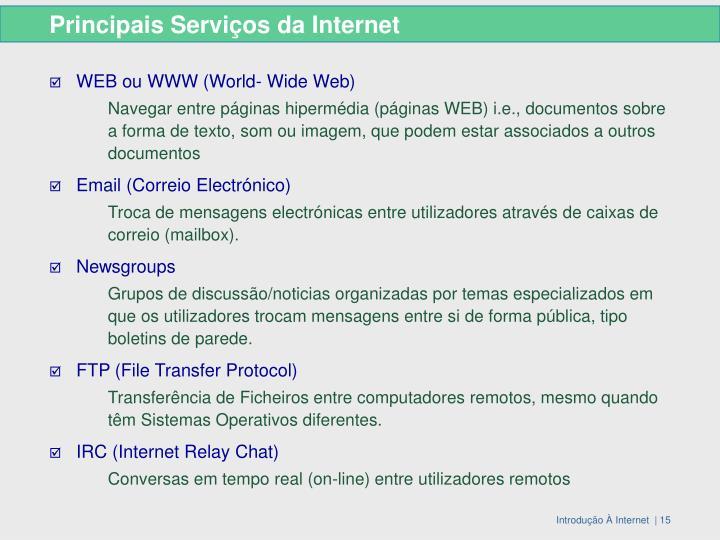 Principais Serviços da Internet