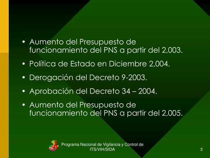 Aumento del Presupuesto de funcionamiento del PNS a partir del 2,003.