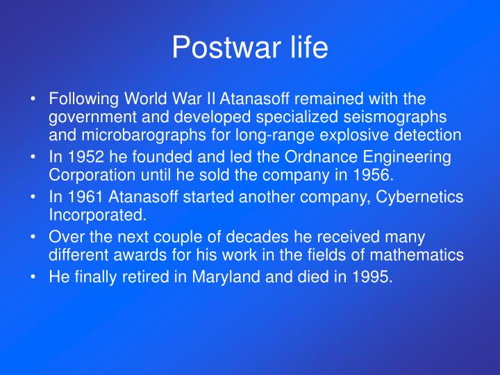 Postwar life