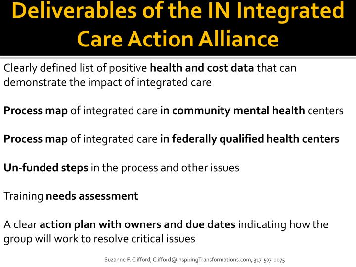 Deliverables of the IN Integrated Care Action Alliance