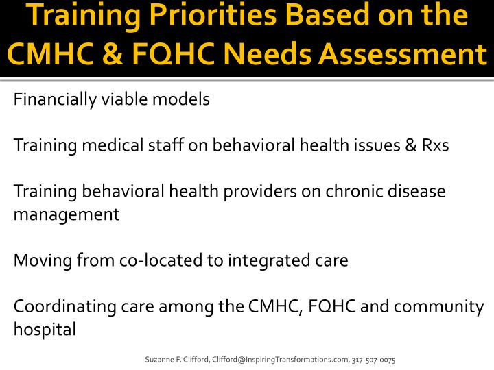 Training Priorities Based on the CMHC & FQHC Needs Assessment
