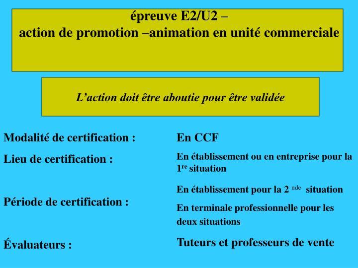 épreuve E2/U2 –