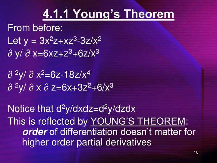 4.1.1 Young's Theorem