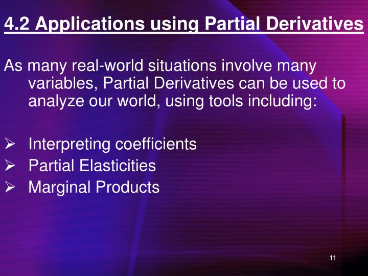 4.2 Applications using Partial Derivatives