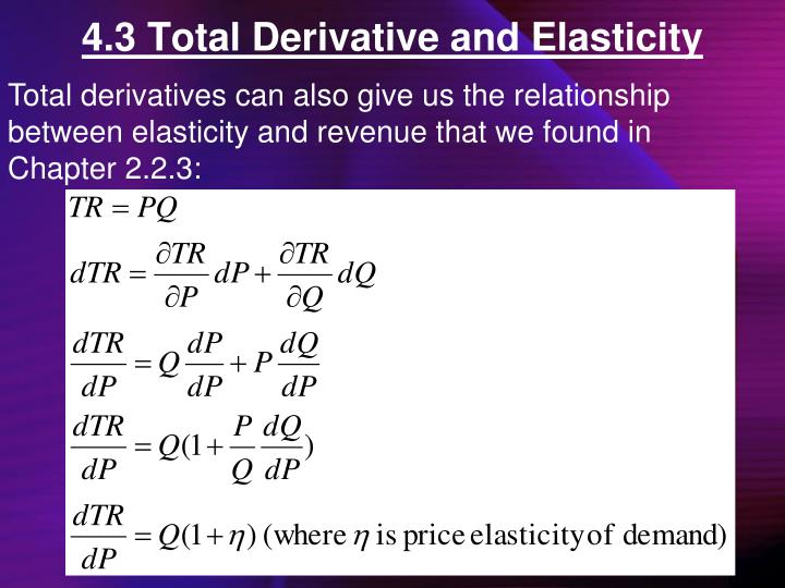4.3 Total Derivative and Elasticity