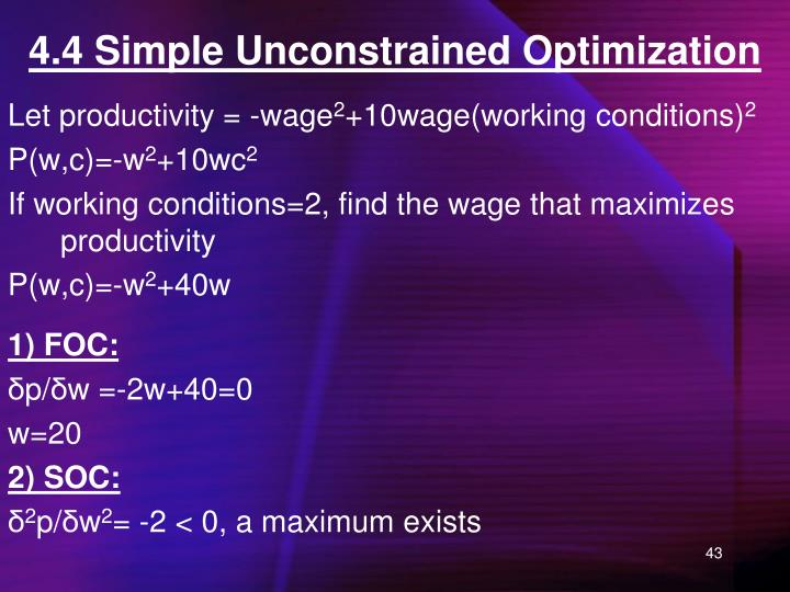 4.4 Simple Unconstrained Optimization