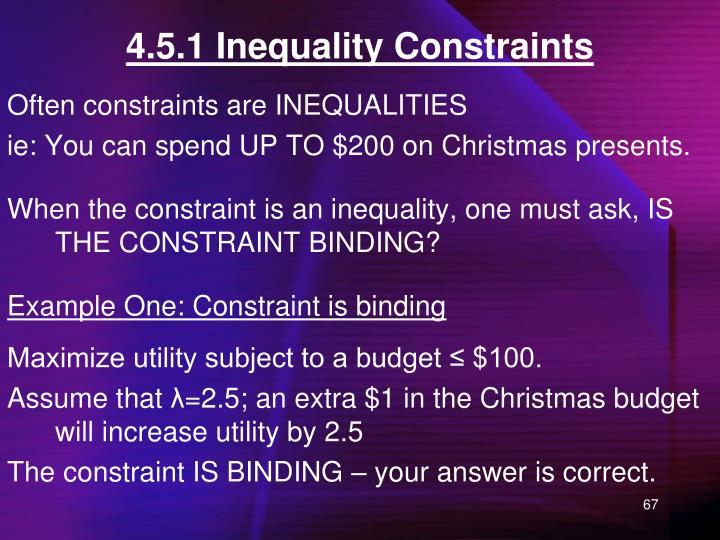 4.5.1 Inequality Constraints