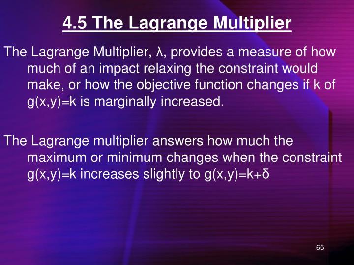 4.5 The Lagrange Multiplier