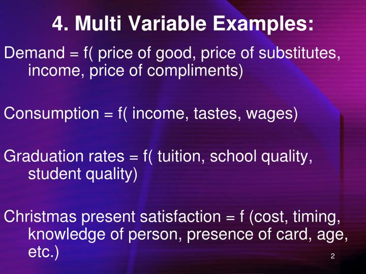 4. Multi Variable Examples: