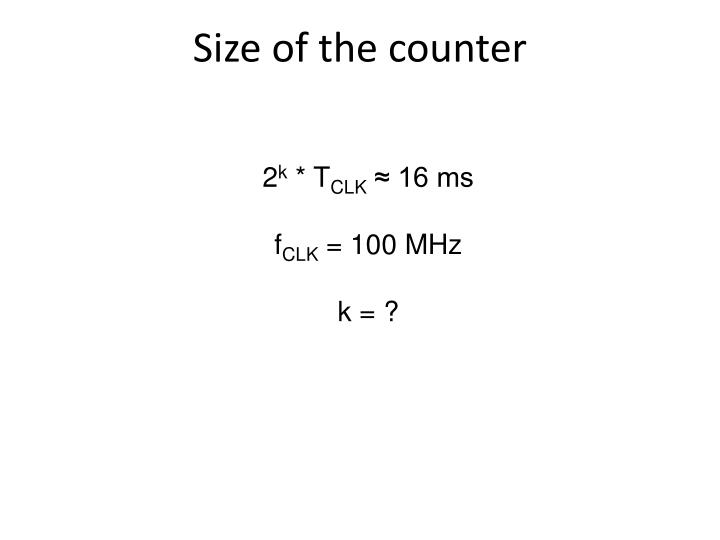 Size of the counter