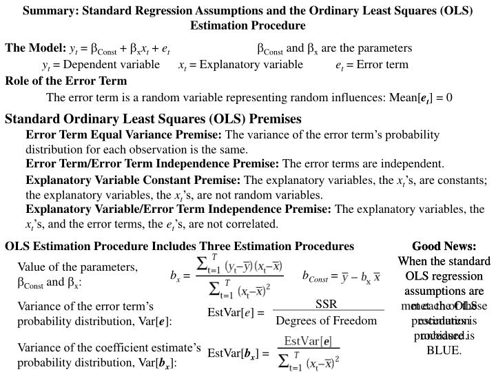 Summary: Standard Regression Assumptions and the Ordinary Least Squares (OLS) Estimation Procedure