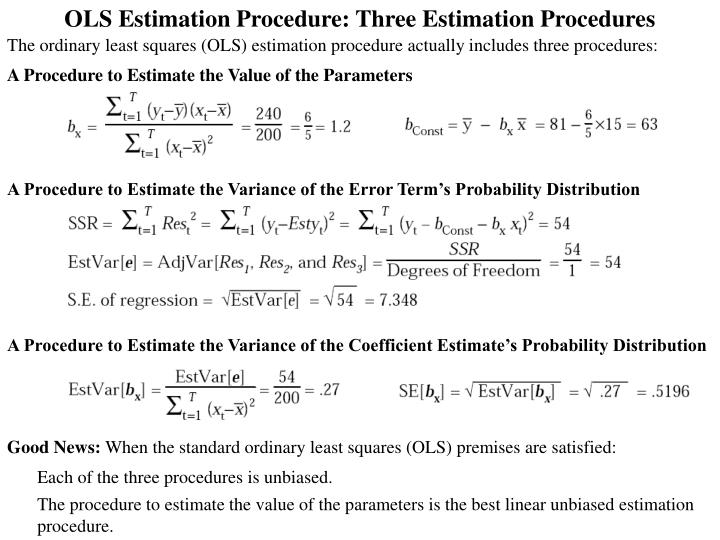 OLS Estimation Procedure: Three Estimation Procedures