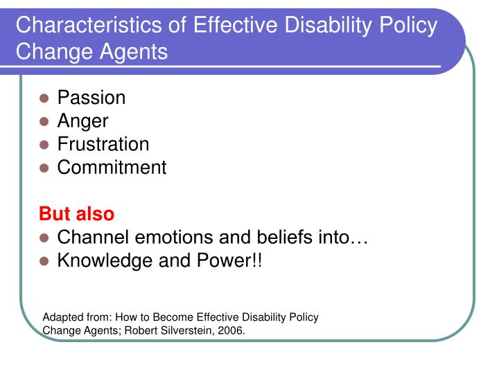 Characteristics of Effective Disability Policy Change Agents