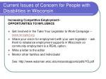 current issues of concern for people with disabilities in wisconsin1