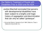 our nation s treatment of people with disabilities prior to idea and the ada