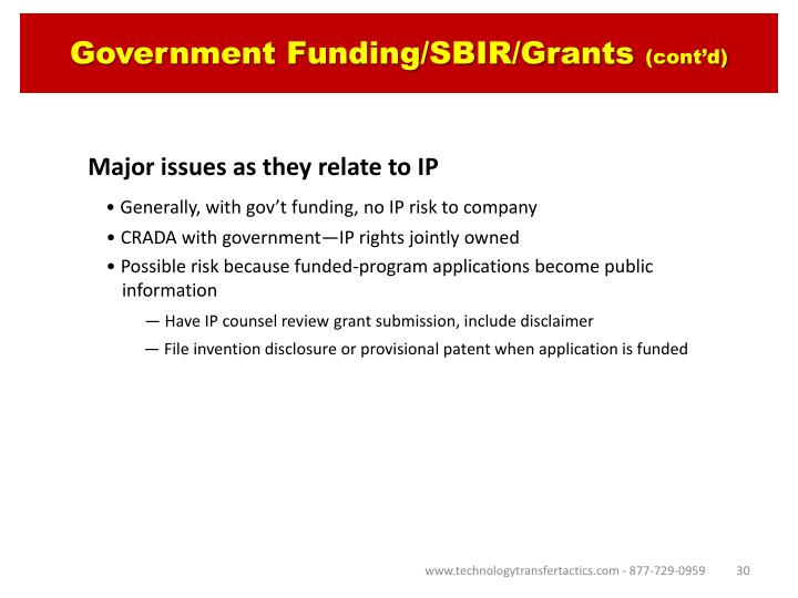 Government Funding/SBIR/Grants