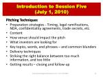 introduction to session five july 1 2010