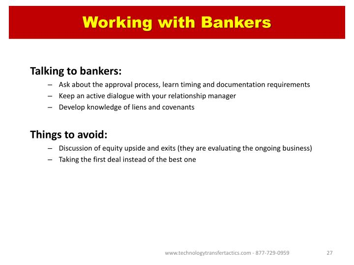 Working with Bankers