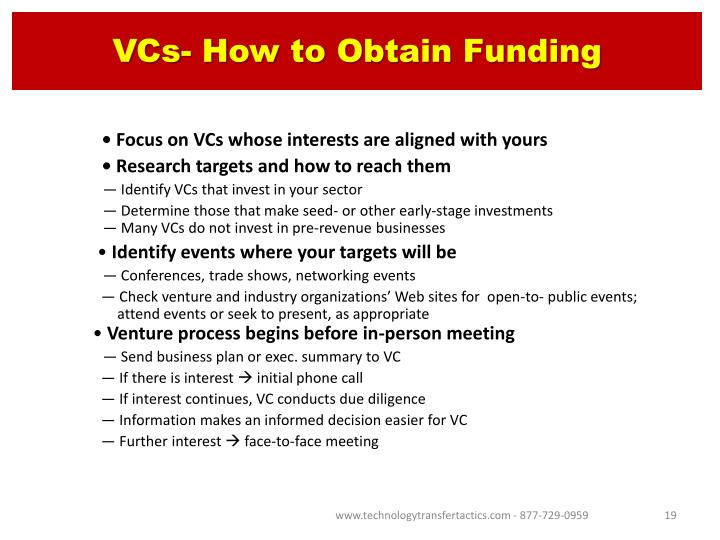 VCs- How to Obtain Funding