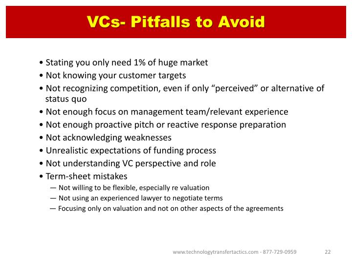 VCs- Pitfalls to Avoid