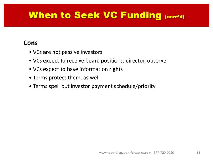 When to Seek VC Funding